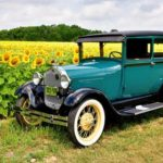 Antique car with sunflowers at Schoolhouse Farm in Ohio